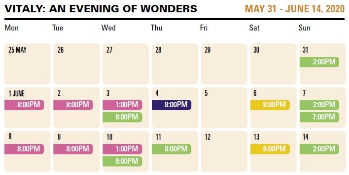 Vitaly schedule